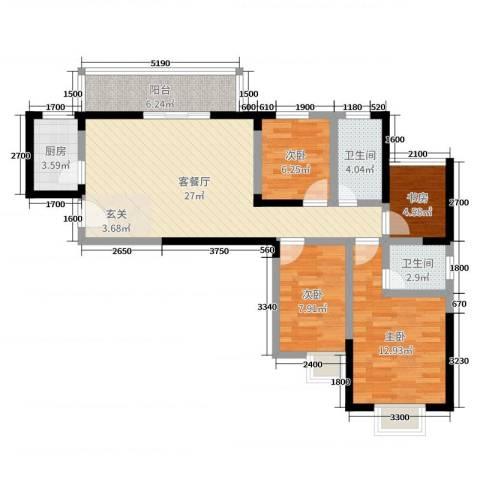 连城别苑四期4室2厅2卫1厨123.00㎡户型图