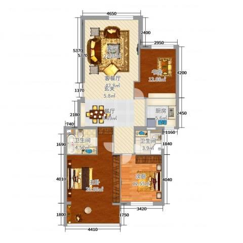 白云山庄3室2厅2卫1厨130.00㎡户型图