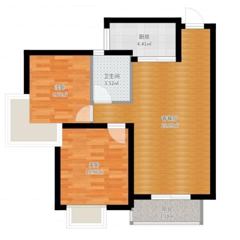 天正银河湾2室2厅1卫1厨70.00㎡户型图