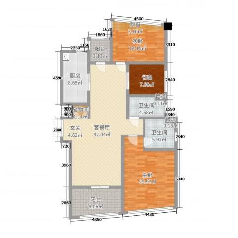 保利达江湾城3室2厅2卫1厨149.00㎡户型图