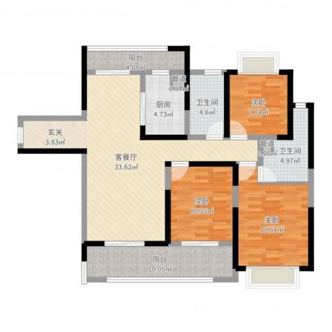 黄山湖公馆3室2厅2卫1厨118.00㎡户型图