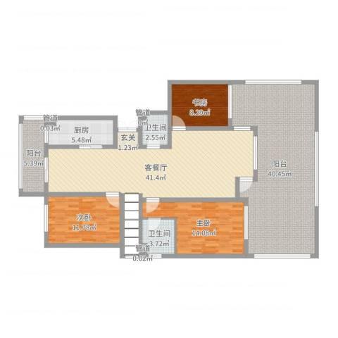 潭泽溪郡3室2厅2卫1厨166.00㎡户型图