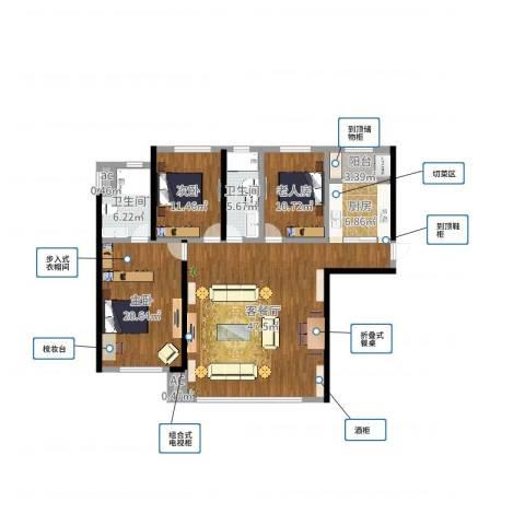 钻石湾3室2厅2卫1厨142.00㎡户型图