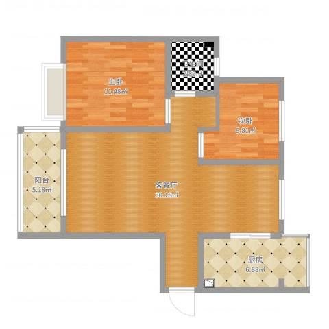 山水新城A1户型改造方案2室2厅1卫1厨79.00㎡户型图