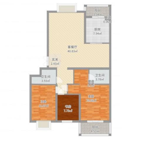 西港国际花园3室2厅2卫1厨129.00㎡户型图