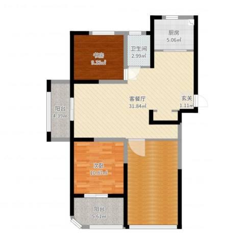 河畔花城2室2厅1卫1厨110.00㎡户型图