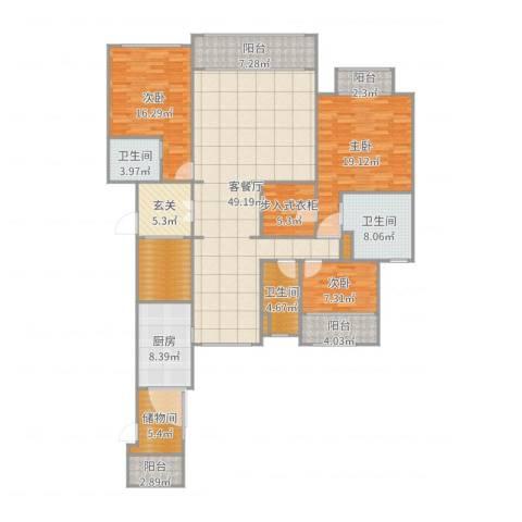 西派国际3室2厅3卫1厨195.00㎡户型图