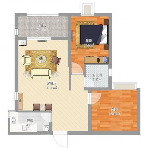 莲花尚院2室2厅1卫1厨77.00㎡户型图