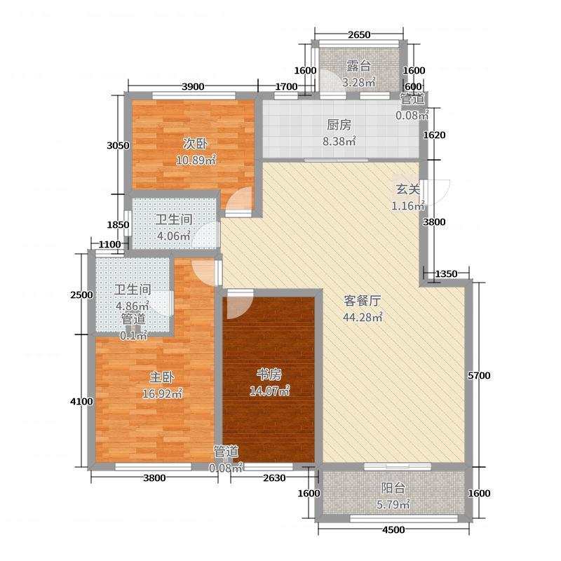 建邦原香溪谷135.00㎡C34、C35、C36、C37号楼201户型3室3厅2卫1厨