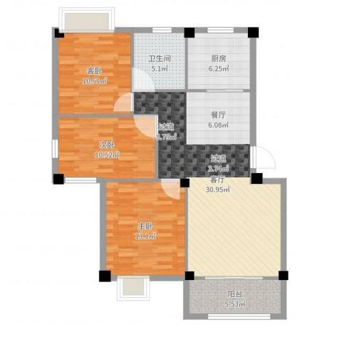 佳兆业壹号公馆3室1厅1卫1厨102.00㎡户型图