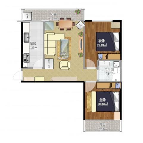 艺苑东里2室1厅1卫1厨76.00㎡户型图