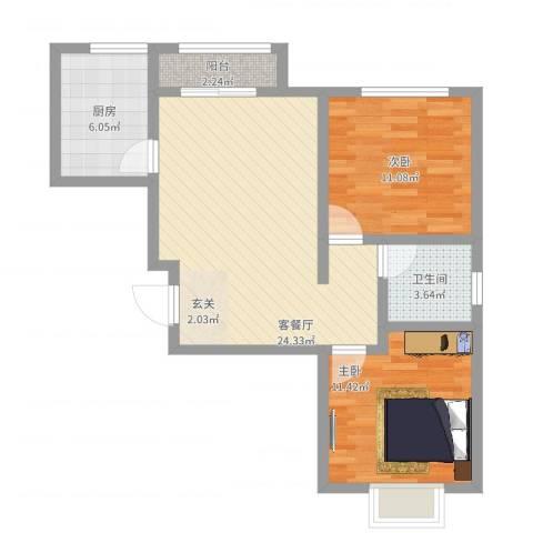 东方银座2室2厅1卫1厨85.00㎡户型图