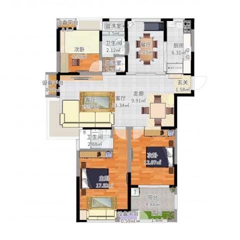 观湖壹号3室4厅5卫2厨126.00㎡户型图
