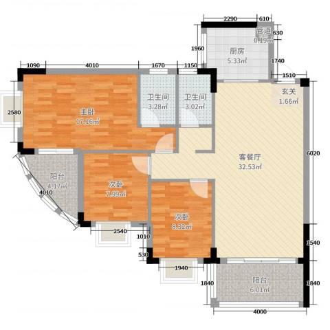 雅逸轩3室2厅2卫1厨112.00㎡户型图