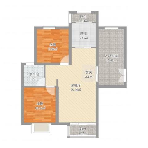 首开・国风海岸2室2厅1卫1厨89.00㎡户型图