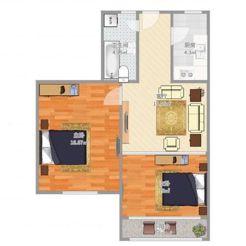 艾南小区2室1厅1卫1厨67.00㎡户型图