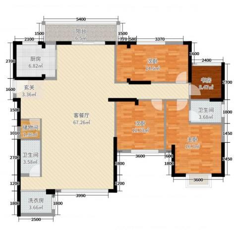 连城别苑四期4室2厅2卫1厨142.86㎡户型图