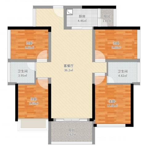 中州天御4室2厅2卫1厨121.00㎡户型图