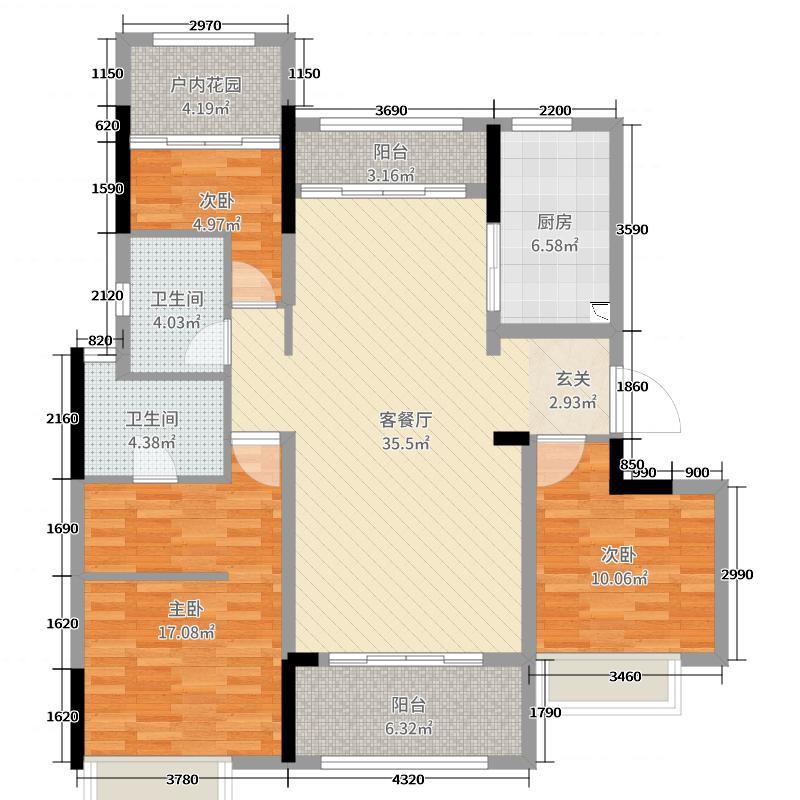 中海山湖世家129.00㎡3/11/14/21-23/26座02单元户型3室3厅2卫1厨