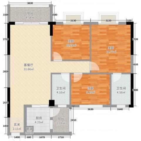 雅逸轩3室2厅2卫1厨111.00㎡户型图