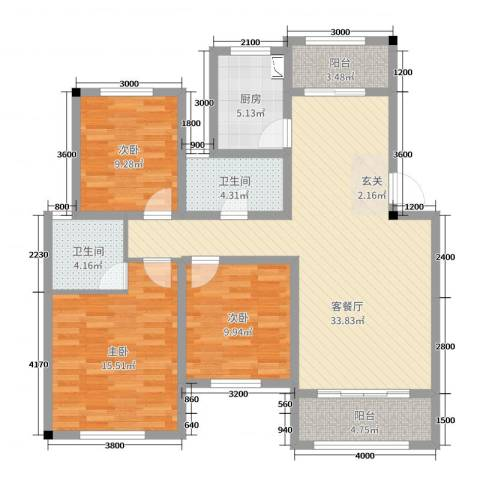 翠湖天地三期3室2厅2卫1厨113.00㎡户型图