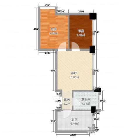 华亿红府2室1厅1卫1厨70.00㎡户型图
