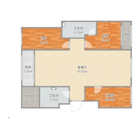 水天福苑3室2厅2卫1厨131.00㎡户型图