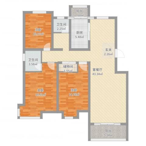 和兴世纪花都3室2厅2卫1厨130.00㎡户型图