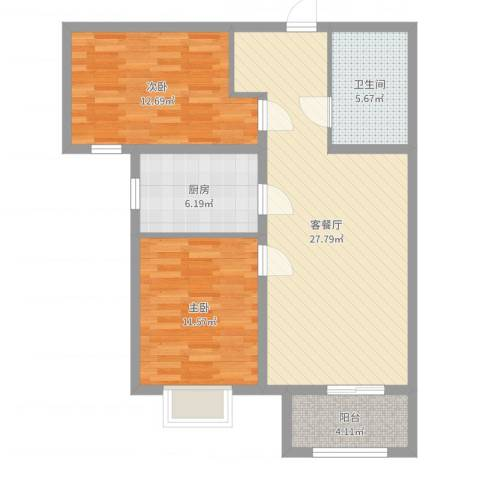 雍雅锦江2室2厅1卫1厨85.00㎡户型图