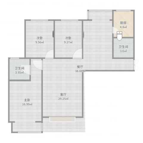 府街庭院3室1厅2卫1厨109.00㎡户型图