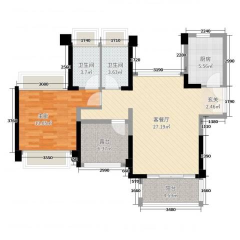 宇宏健康花城1室2厅2卫1厨89.00㎡户型图