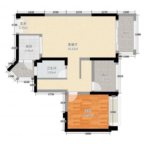 宇宏健康花城1室2厅1卫1厨89.00㎡户型图