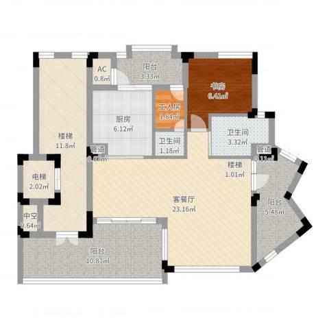 江南世家别墅1室2厅2卫1厨96.00㎡户型图
