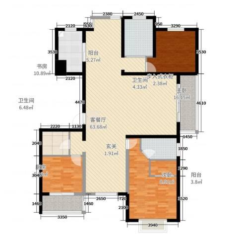九五花园3室2厅2卫1厨166.00㎡户型图