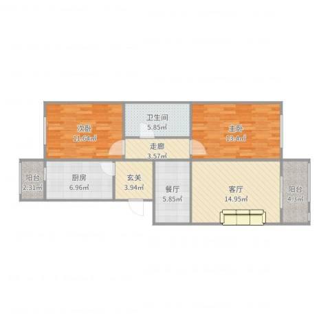 幸福花园・河北区2室2厅1卫1厨91.00㎡户型图