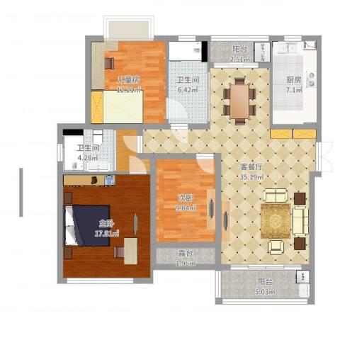 浒墅人家3室2厅2卫1厨131.00㎡户型图