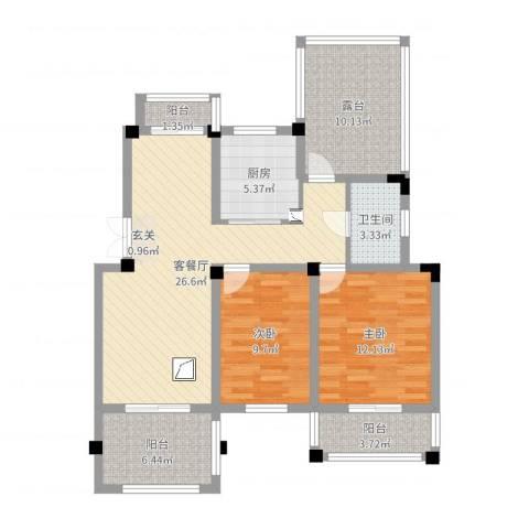 金色福园2室2厅1卫1厨98.00㎡户型图