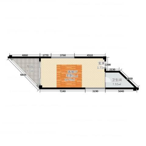 东和中央海岸2厅1卫0厨64.00㎡户型图