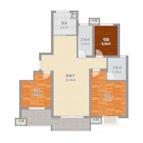 佳源・名人国际花园3室2厅2卫1厨125.00㎡户型图