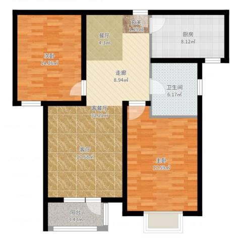 中铁四季公馆2室2厅1卫1厨102.00㎡户型图