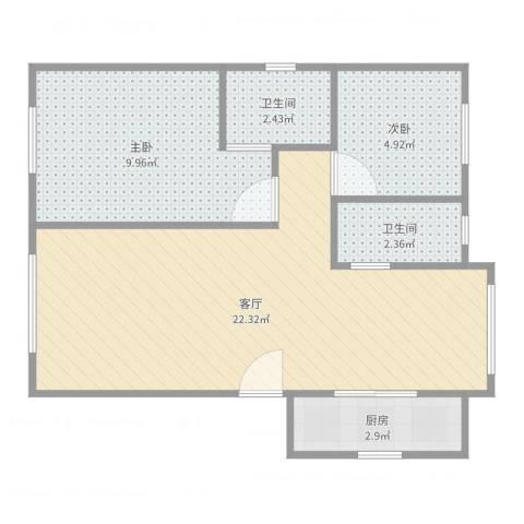 宝翠花都听景园2室1厅2卫1厨56.00㎡户型图