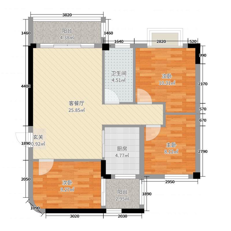 雅逸轩89.97㎡A栋0450X70户型3室3厅1卫1厨
