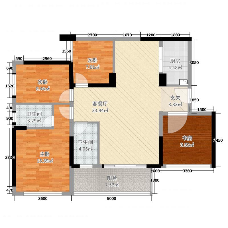 润田・利园110.00㎡B1户型4室4厅2卫1厨