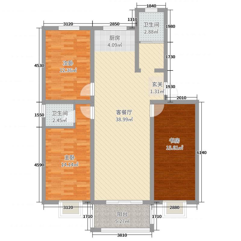 平乐家园126.90㎡1-5#C户型3室3厅2卫1厨