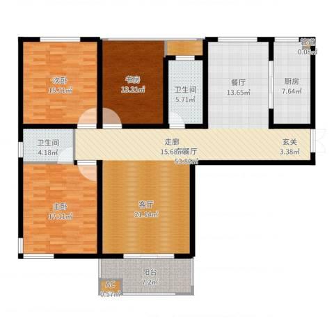 铭洋盛世钱门3室2厅2卫1厨126.64㎡户型图
