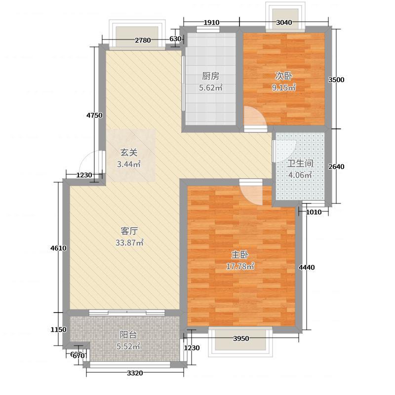 洪城东公馆95.00㎡多层D1户型2室2厅1卫1厨