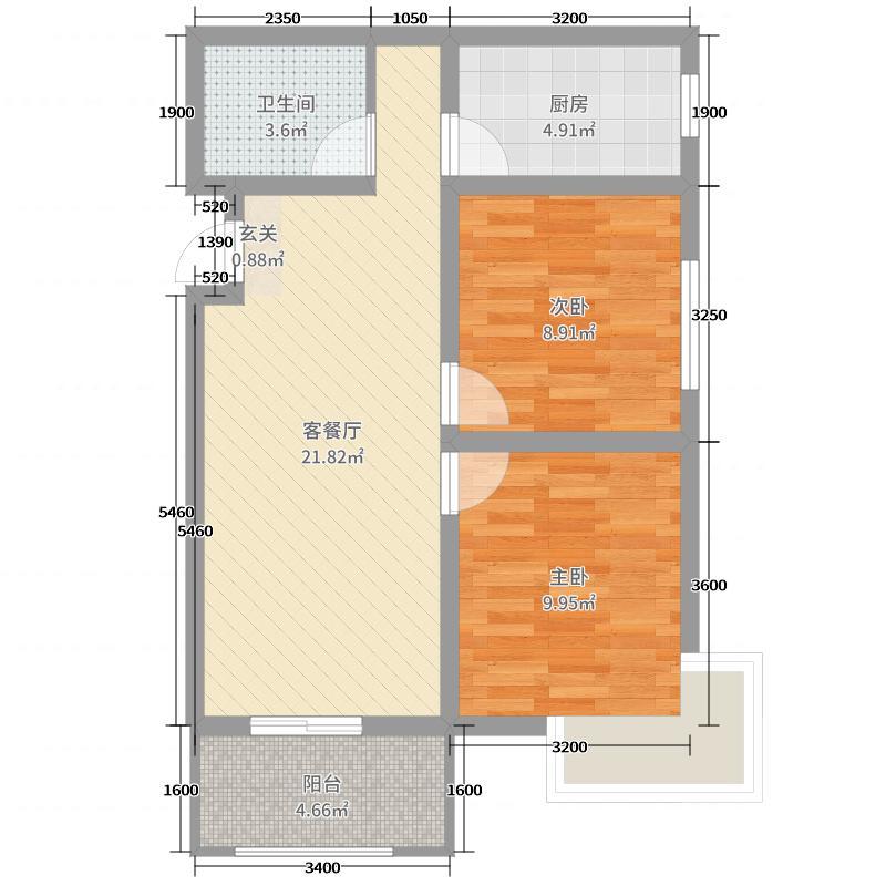 远通・名筑80.00㎡2#B2两居户型2室2厅1卫1厨