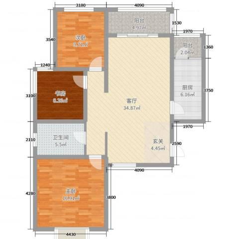 奥龙湾3室1厅1卫1厨111.00㎡户型图