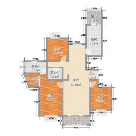 奥龙湾3室1厅2卫1厨170.00㎡户型图