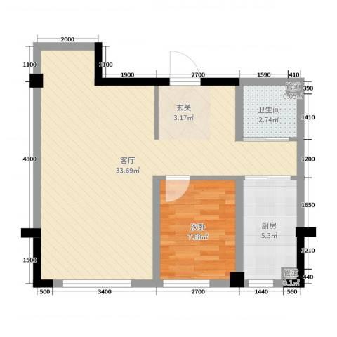 上东城市之光1室1厅1卫1厨72.00㎡户型图